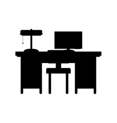 Silhouette desk with computer and chair vector