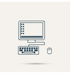 Simple stylish laptop pixel icon design vector image vector image