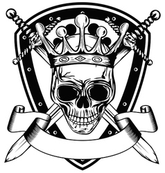 skull in crown board and crossed swords vector image