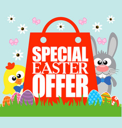 Special easter offer card funny rabbit and chick vector