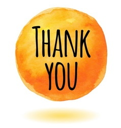 Thank you card with orange watercolor circle vector