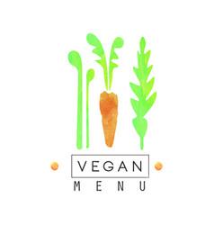 Vegan menu logo badge with carrot for vegetarian vector