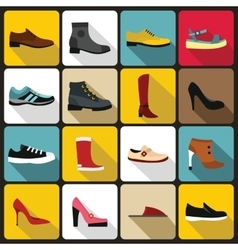 Shoe icons set in flat style vector