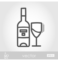 Bottle wine and glass outline icon thanksgiving vector