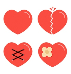 Flat design cartoon red heart icons set vector