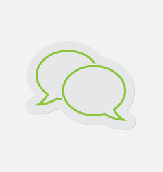 Simple green icon - two outline speech bubbles vector