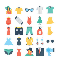 Fashion and clothes colored icons 6 vector
