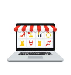 online shop laptop vector image