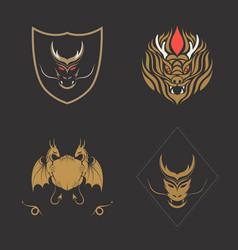 dragon logo set vector image