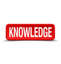 Knowledge red 3d square button isolated on white vector