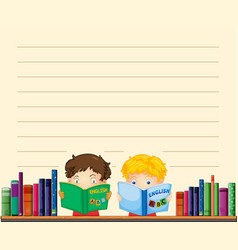 Paper template with boys reading books vector
