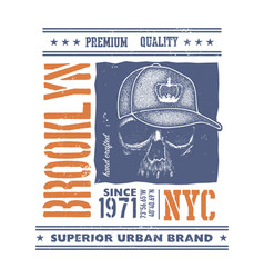 vintage urban typography with skull vector image