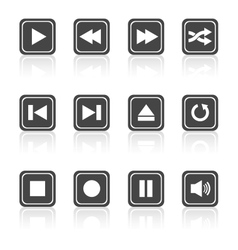 Media player square buttons set vector