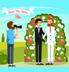 Flat wedding people orthogonal composition vector