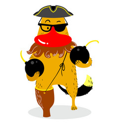 Halloween dog character in costume of pirate cute vector