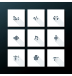 Flat audio icon set vector