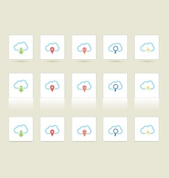 Cloud icons in 3 styles vector