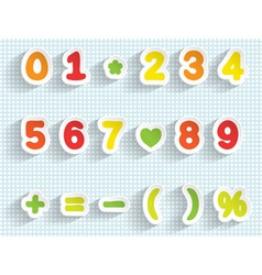 Paper digits and math signs handmade font vector