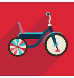 Children bicycle flat icon with long shadow vector