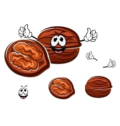 Happy brown cartoon walnut character vector