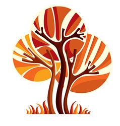 Artistic stylized natural symbol creative autumn vector