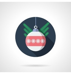 Round flat color icon for christmas ball vector