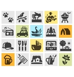 Camping set black icons signs and symbols vector
