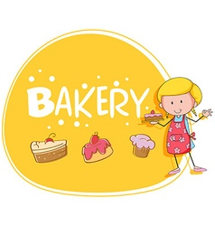 Bakery theme with baker and cake vector