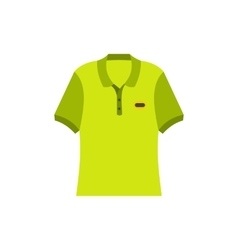 Green men polo shirt flat icon vector