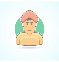 Indian man in traditional cloth yogi icon vector
