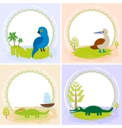 Crocodile alligator iguana parrot bird booby vector