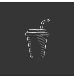Disposable cup with drinking straw drawn in chalk vector