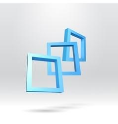 Three blue rectangular 3d frames vector