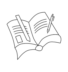 Book with pen and pencil icon outline style vector image