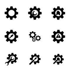 Black tools in gear icon set vector