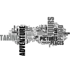 adventure photo tours text word cloud concept vector image vector image