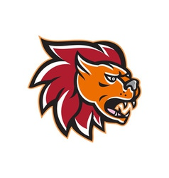 Angry Lion Big Cat Head Side vector image
