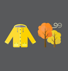 Autumn clothes set items the fall acorn leaves vector