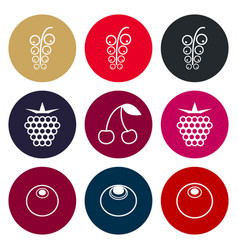 Berries icon set in muted tones vector