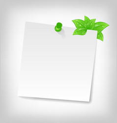 Blank note paper with green leaves and space for vector