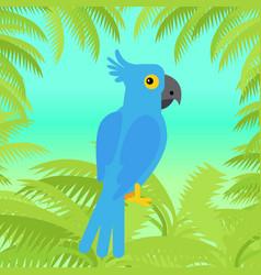 Blue macaw parrot flat design vector