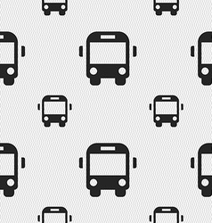 Bus icon sign seamless pattern with geometric vector