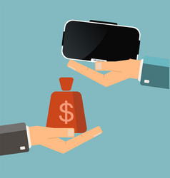 buying virtual reality glasses hand hold virtual vector image vector image