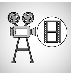 camera film vintage with movie film strip vector image