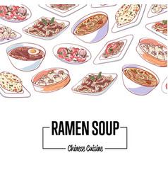 chinese ramen soup poster with asian dishes vector image