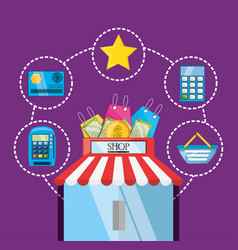 Colorful online store with elements shopping vector