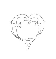 contour of two dolphin couple in love vector image