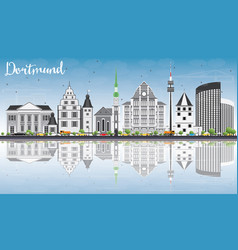 dortmund skyline with gray buildings blue sky vector image vector image