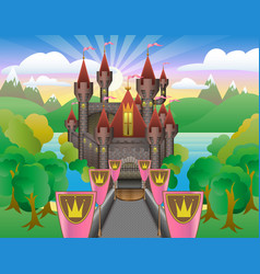Fairytale beautiful castle vector