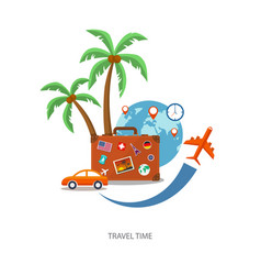 flat travel suitcase with globe and icons vector image vector image